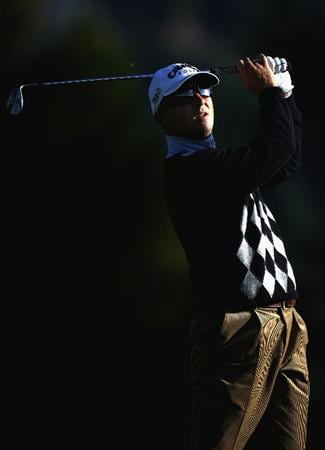 CRANS, SWITZERLAND - SEPTEMBER 05:  Niclas Fasth of Sweden plays his second shot on the par four 12th hole during the second round the Omega European Masters at the Golf Club Crans-sur-Sierre on September 5, 2008 in Crans, Switzerland.  (Photo by Ross Kinnaird/Getty Images)