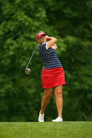 GLADSTONE, NJ - MAY 23: Angela Stanford hits her tee shot on the sixth hole during the final round of the Sybase Match Play Championship at Hamilton Farm Golf Club on May 23, 2010 in Gladstone, New Jersey. (Photo by Hunter Martin/Getty Images)