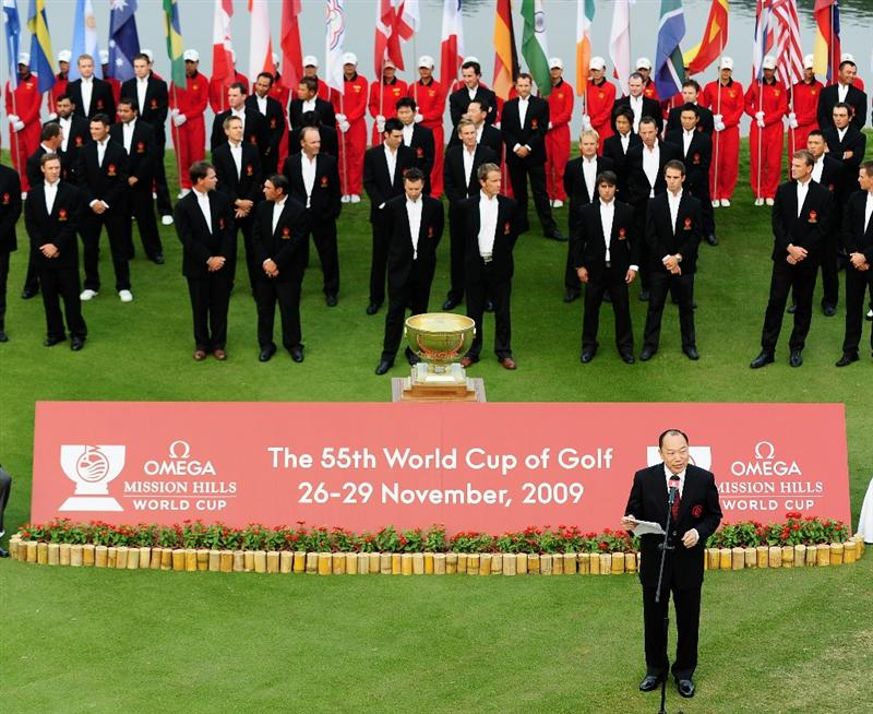 SHENZHEN, GUANGDONG - NOVEMBER 25:  Doctor David Chu adresses the officals and players from the 28 competing during the opening ceremony at the Omega Mission Hills World Cup on the Olazabal course on November 25, 2009 in Shenzhen, China.  (Photo by Stuart Franklin/Getty Images)