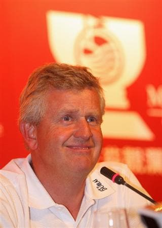 SHENZHEN, CHINA - NOVEMBER 26:  Colin Montgomerie of Scotland during the press conference at the Omega Mission Hills World Cup at the Mission Hills Resort on November 26, 2008 in Shenzhen, China.  (Photo by Stuart Franklin/Getty Images)