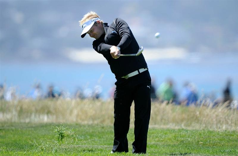 PEBBLE BEACH, CA - JUNE 17:  Soren Kjeldsen of Denmark hits a shot from the rough on the 14th hole during the first round of the 110th U.S. Open at Pebble Beach Golf Links on June 17, 2010 in Pebble Beach, California.  (Photo by Harry How/Getty Images)
