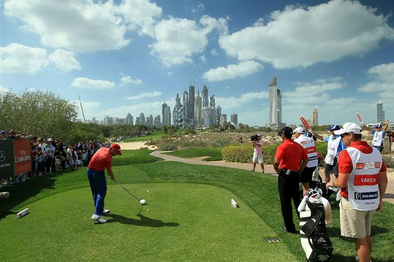 DUBAI, UNITED ARAB EMIRATES - FEBRUARY 13:  Sergio Garcia of Spain plays his tee shot at the 8th hole during the final round of the 2011 Omega Dubai Desert Classic on the Majilis Course at the Emirates Golf Club on February 13, 2011 in Dubai, United Arab Emirates.  (Photo by David Cannon/Getty Images)