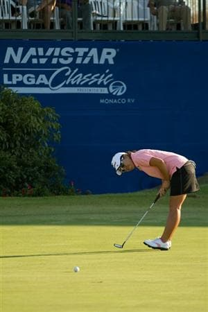 PRATTVILLE, AL - OCTOBER 8: Mika Miyazato of Japan reacts to a missed putt during the second round of the Navistar LPGA Classic at the Senator Course at the Robert Trent Jones Golf Trail  on October 8, 2010 in Prattville, Alabama. (Photo by Darren Carroll/Getty Images)