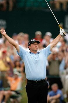 CHARLOTTE, NC - MAY 03:  Jason Bohn celebrates after chipping in for par on the 18th hole during the third round of the Wachovia Championship at Quail Hollow Country Club on May 3, 2008 in Charlotte, North Carolina.  (Photo by Streeter Lecka/Getty Images)