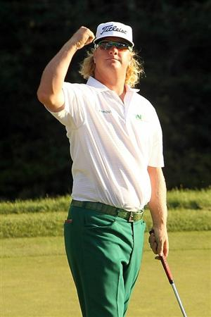 NORTON, MA - SEPTEMBER 06:  Charley Hoffman reacts on the 18th hole during the final round of the Deutsche Bank Championship at TPC Boston on September 6, 2010 in Norton, Massachusetts.  (Photo by Mike Ehrmann/Getty Images)