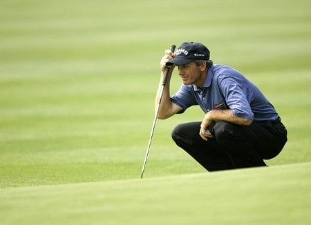 Jerry Pate on the 18th hole during the first round of the Commerce Bank Championship being held at the Eisenhower Park Red Course in East Meadow, New York on Friday July 1, 2005.Photo by Mike Ehrmann/WireImage.com