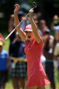 EDINA, MN - JUNE 29:  Paula Creamer reacts to making a long birdie putt on the fourth hole during the final round of the 2008 U.S. Women's Open at Interlachen Country Club June 29, 2008 in Edina, Minnesota.  (Photo by Travis Lindquist/Getty Images)