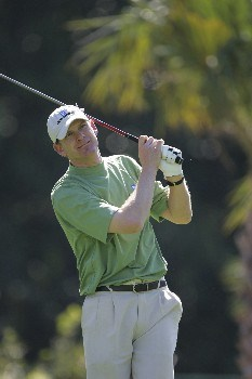 Tom Gillis hits from the 7th tee in the third round of the Ford Championship at Doral in Miami, Florida. March 5, 2005
