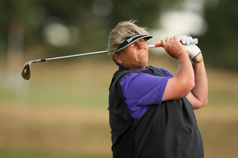 LYTHAM ST ANNES, ENGLAND - JULY 30:  Laura Davies of England hits an approach shot on the 2nd hole during the first round of the 2009 Ricoh Women's British Open Championship held at Royal Lytham St Annes Golf Club, on July 30, 2009 in  Lytham St Annes, England.  (Photo by Warren Little/Getty Images)