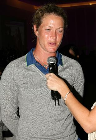 KUALA LUMPUR, MALAYSIA - OCTOBER 22 : Suzann Pettersen of Norway is interviewed during the Sime Darby LPGA Charity Gala Dinner on October 22, 2010 at the Sime Darby Convention Centre in Kuala Lumpur, Malaysia. (Photo by Stanley Chou/Getty Images)