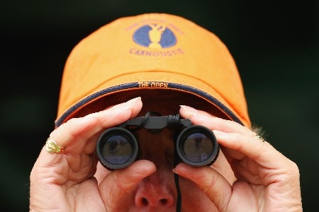 CARNOUSTIE, UNITED KINGDOM - JULY 21:  A golf fan watches the play during the third round of The 136th Open Championship at the Carnoustie Golf Club on July 21, 2007 in Carnoustie, Scotland.  (Photo by Stuart Franklin/Getty Images)