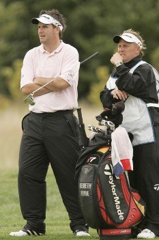Kenneth Ferrie waits to play during the rain delayed second round of the 2005 Deutsche Bank Players Championship at Gut Kaden Golf Club in Hamburg, Germany on July 23, 2005.Photo by Pete Fontaine/WireImage.com