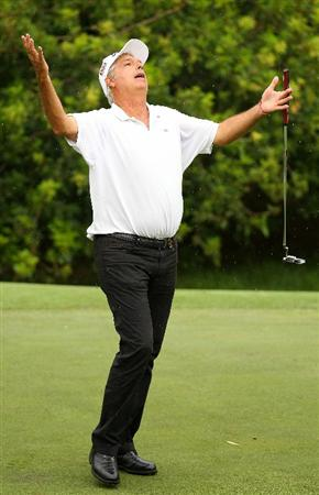 PERTH, AUSTRALIA - NOVEMBER 21:  Marc Farry of France reacts to missing a putt on the 5th green during day three of the 2010 Australian Senior Open at Royal Perth Golf Club on November 21, 2010 in Perth, Australia.  (Photo by Paul Kane/Getty Images)