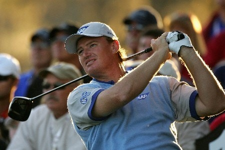 ORLANDO, FL - MARCH 24:  Ernie Els of South Africa and member of Lake Nona team tees off on the 18th hole during the first day of the Travistock Cup at Isleworth Golf and Country Club on March 24, 2008 in Orlando, Florida.  (Photo by Warren Little/Getty Images)