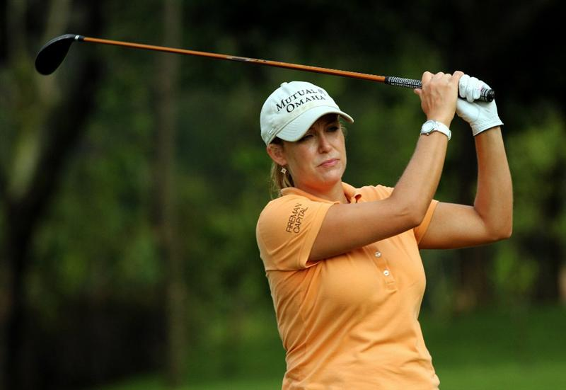 KUALA LUMPUR, MALAYSIA - OCTOBER 21:   Cristie Kerr of USA plays her 2nd shot on the 5th hole during the Sime Darby Pro-Am at the KLGCC Golf Course on October 21, 2010 in Kuala Lumpur, Malaysia (Photo by Stanley Chou/Getty Images)
