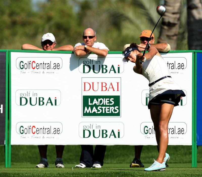DUBAI, UNITED ARAB EMIRATES - DECEMBER 12:  Maria Verchenova of Russia hits her tee shot at the 9th hole during the second round of the Dubai Ladies Masters on the Majilis Course at the Emirates Golf Club on December 12, 2008 in Dubai,United Arab Emirates.  (Photo by David Cannon/Getty Images)