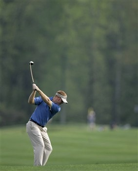 GLEN ALLEN, VA - APRIL 25:   Bubba Dickerson hits a fairway shot on the 11th hole during the second round of the Henrico County Open of the Nationwide Tour at The Dominion Club April 25, 2008 in Glen Allen, Virginia. (Photo by Chris Gardner/Getty Images)