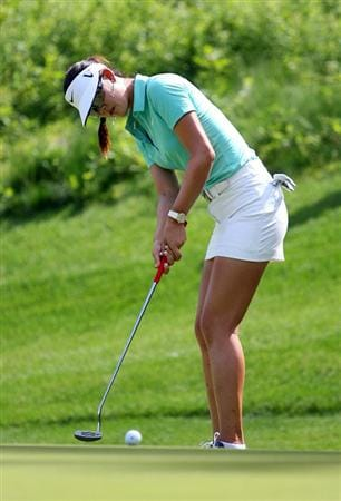 GLADSTONE, NJ - MAY 22: Michelle Wie putts for birdie on the eleventh hole during the third round of the Sybase Match Play Championship at Hamilton Farm Golf Club on May 22, 2010 in Gladstone, New Jersey. (Photo by Hunter Martin/Getty Images)