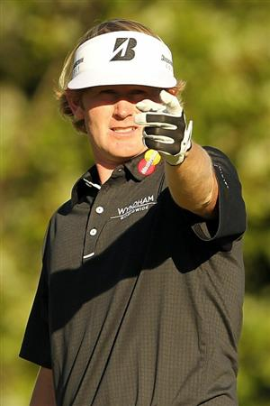 NORTON, MA - SEPTEMBER 05:  Brandt Snedeker points from the 17th hole during the third round of the Deutsche Bank Championship at TPC Boston on September 5, 2010 in Norton, Massachusetts.  (Photo by Mike Ehrmann/Getty Images)