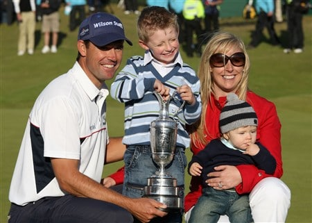 SOUTHPORT, UNITED KINGDOM - JULY 20:  Padraig Harrington of the Republic of Ireland celebrates with the Claret Jug with wife Caroline and sons Patrick and Ciaran after winning by 4 strokes during the final round of the 137th Open Championship on July 20, 2008 at Royal Birkdale Golf Club, Southport, England.  (Photo by Ross Kinnaird/Getty Images)