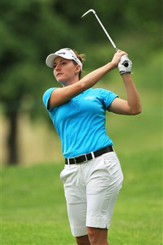 EDINA, MN - JUNE 27:  Brittany Lang hits her second shot on the second hole during the second round of the 2008 U.S. Women's Open at Interlachen Country Club on June 27, 2008 in Edina, Minnesota.  (Photo by Travis Lindquist/Getty Images)