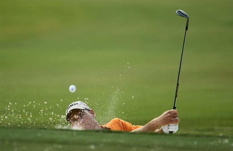 ATLANTA - SEPTEMBER 24:  Jim Furyk plays a bunker shot on the 13th hole during the second round of THE TOUR Championship presented by Coca-Cola at East Lake Golf Club on September 24, 2010 in Atlanta, Georgia.  (Photo by Scott Halleran/Getty Images)