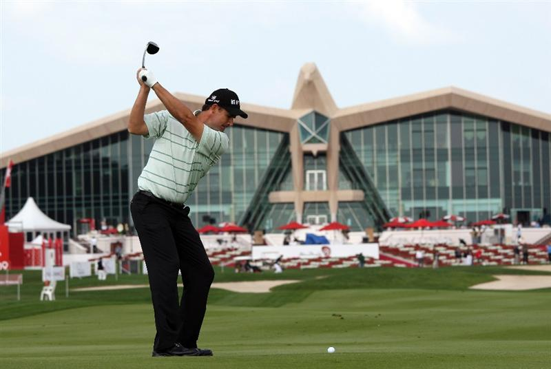 ABU DHABI, UNITED ARAB EMIRATES - JANUARY 14: Padraig Harrington of Ireland hits his second shot at the 9th hole during the pro-am for the Abu Dhabi Golf Championship held at the Abu Dhabi Golf Club on January 14, 2009 in Abu Dhabi, United Arab Emirates  (Photo by David Cannon/Getty Images)
