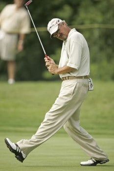 Gary McCord reacts after missing a birdie putt on the 17th hole during the first round of the Commerce Bank Championship being held at the Eisenhower Park Red Course in East Meadow, New York on Friday July 1, 2005.Photo by Mike Ehrmann/WireImage.com