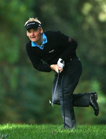 SOTOGRANDE, SPAIN - NOVEMBER 02:  Soren Kjeldsen of Denmark plays his second shot on the 18th hole during the third round of the Volvo Masters at Valderrama Golf Club on November 2, 2008 in Sotogrande, Spain.  (Photo by Andrew Redington/Getty Images)