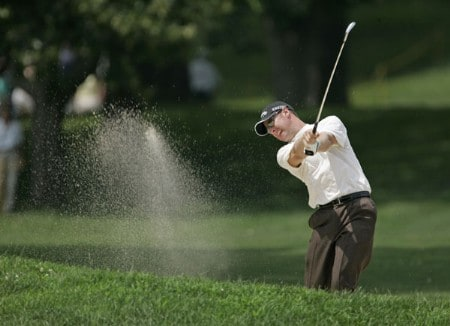 Brendan Jones hits from a fairway bunker on #3 in the fourth round the 2005 B.C. Open at En-Joi Golf Club in Endicott, New York. Sunday, July 17 2005.Photo by Chris Condon/PGA TOUR/WireImage.com
