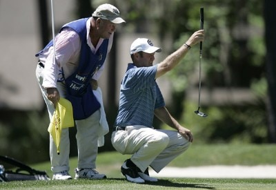 Jerry Kelly on the second hole during the final round of the Verizon Heritage Classic being played at the Harbour Town Golf Links in Hilton Head, South Carolina on April 16, 2006.Photo by Mike Ehrmann/WireImage.com