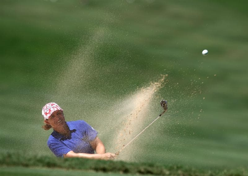 KAPALUA, HI - OCTOBER 19: Heather Young hits out of the bunker during the final round of the Kapalua LPGA Classic on October 19, 2008 at the Bay Course in Kapalua, Maui, Hawaii. (Photo by Donald Miralle/Getty Images)
