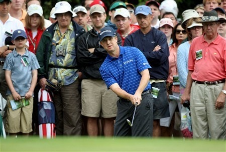 AUGUSTA, GA - APRIL 12:  David Toms hits a shot on the first hole during the third round of the 2008 Masters Tournament at Augusta National Golf Club on April 12, 2008 in Augusta, Georgia.  (Photo by David Cannon/Getty Images)