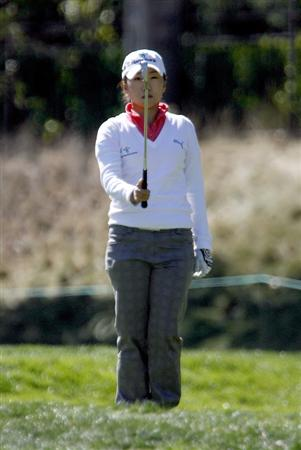 DANVILLE, CA - OCTOBER 12: In-Kyung Kim of South Korea lines up a shot on the 7th hole during the final round of the LPGA Longs Drugs Challenge at the Blackhawk Country Club October 12, 2008 in Danville, California. (Photo by Max Morse/Getty Images)