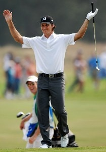 Will MacKenzie celebrates his chip-in on the 18th green during the final round of the Wyndham Championship at Forest Oaks Country Club on August 19, 2007 in Greensboro, North Carolina. PGA TOUR - 2007 Wyndham Championship - Final RoundPhoto by Jonathan Ernst/WireImage.com