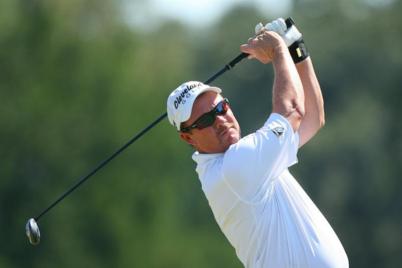 SEA ISLAND, GA - OCTOBER 10: Joe Durant hits his tee shot on the fourth hole during the final round of the McGladrey Classic at Sea Island's Seaside Course on October 10, 2010 in Sea Island, Georgia. (Photo by Hunter Martin/Getty Images)