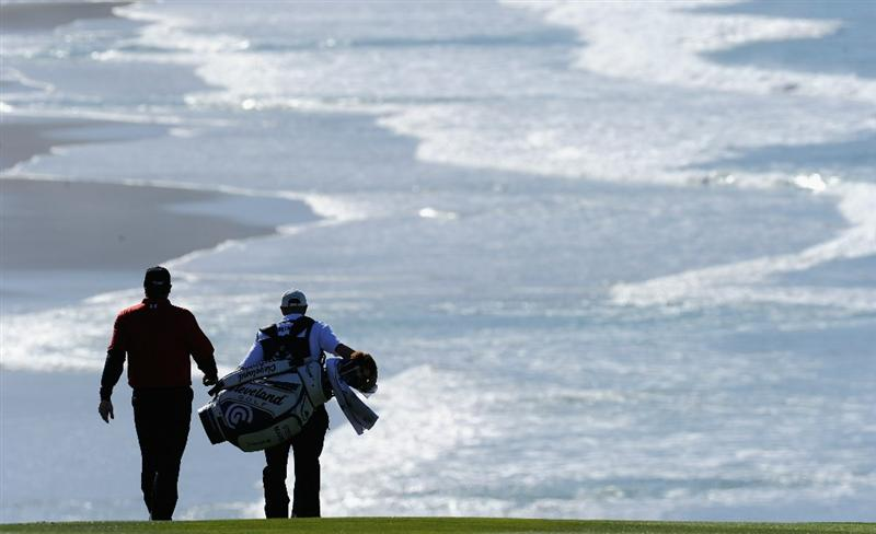 PEBBLE BEACH, CA - FEBRUARY 11:  Steve Marino and caddie on the nineth hole during the second round of the AT&T Pebble Beach National Pro-Am at the Pebble Beach Golf Links on February 11, 2011  in Pebble Beach, California  (Photo by Stuart Franklin/Getty Images)