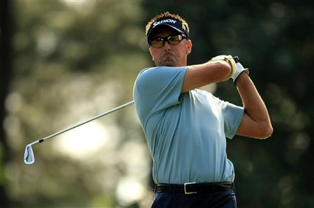 CHARLOTTE, NC - MAY 02:  Robert Allenby of Australia tee's off at the 6th during the second round of the Wachovia Championship at Quail Hollow Country Club on May 2, 2008 Charlotte, North Carolina.  (Photo by Richard Heathcote/Getty Images)