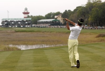 Kevin Na hits from the 18th tee during the third round of the 2007 Verizon Heritage Classic at Harbour Town Golf Links in Hilton Head Island on April 14, 2007. PGA TOUR - 2007 Verizon Heritage - Third RoundPhoto by Steve Grayson/WireImage.com