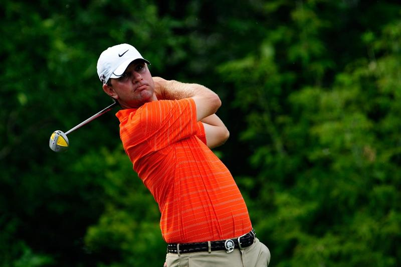CHASKA, MN - AUGUST 13:  Lucas Glover watches his tee shot on the tenth hole during the first round of the 91st PGA Championship at Hazeltine National Golf Club on August 13, 2009 in Chaska, Minnesota.  (Photo by Sam Greenwood/Getty Images)