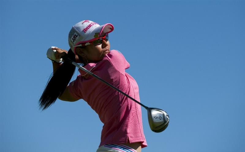 ROGERS, AR - SEPTEMBER 12:  Ai Miyazato of Japan makes a tee shot on the 18th hole during the final round of the P&G NW Arkansas Championship at the Pinnacle Country Club on September 12, 2010 in Rogers, Arkansas.  (Photo by Robert Laberge/Getty Images)