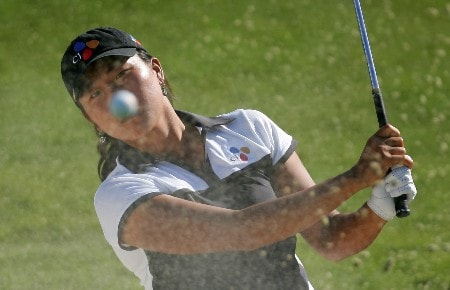 PALM DESERT, CA - OCTOBER 11:  Seon Hwa Lee of South Korea makes a shot out of the bunker on the 12th hole during the first round of the LPGA Samsung World Championship at the Bighorn Golf Club October 11, 2007 in Palm Desert, California.  (Photo by Robert Laberge/Getty Images)