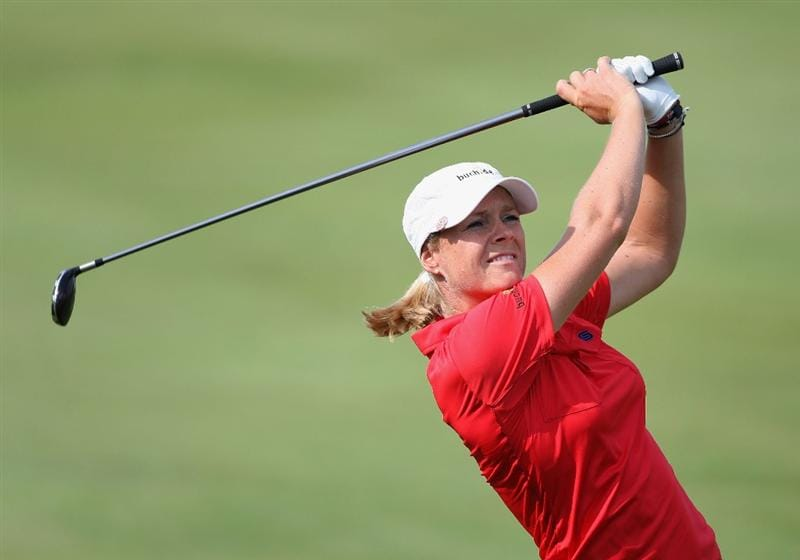 SPRINGFIELD, IL - JUNE 05:  Anja Monke of Germany hits her second shot on the 16th hole during the second round of the LPGA State Farm Classic golf tournament at Panther Creek Country Club on June 5, 2009 in Springfield, Illinois.  (Photo by Christian Petersen/Getty Images)