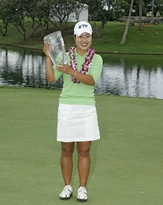 Meena Lee holds the winning trophy after winning a sudden death playoff against Seon Hwa Lee at the Fields Open in Hawaii golf tournament Feb. 25, 2006 at the Ko Olina Resort Golf Club in Kapolei, on the island of Oahu, Hawaii.Photo by Marco Garcia/WireImage.com