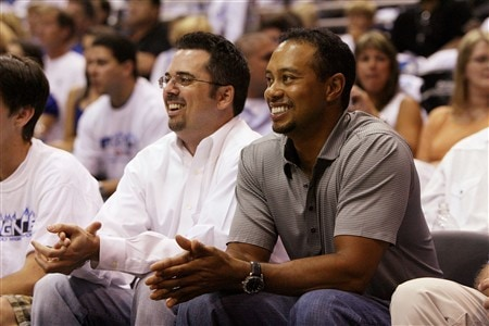 ORLANDO, FL - MAY 10:  Golfer Tiger Woods watches the Orlando Magic take on the Detroit Pistons in Game Four of the Eastern Conference Semifinals during the 2008 NBA Playoffs at the Amway Arena on May 10, 2008 in Orlando, Florida. The Pistons defeated the Magic 89-90. NOTE TO USER: User expressly acknowledges and agrees that, by downloading and or using this photograph, User is consenting to the terms and conditions of the Getty Images License Agreement.  (Photo by Doug Benc/Getty Images)
