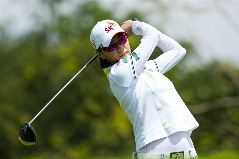 CHON BURI, THAILAND - FEBRUARY 19:  Na Yeon Choi of South Korea tees off on the 3rd hole during day three of the LPGA Thailand at Siam Country Club on February 19, 2011 in Chon Buri, Thailand.  (Photo by Victor Fraile/Getty Images)