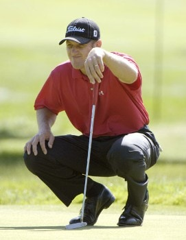 Craig Perks sizes up a birdie putt on the eighth hole during the second round of the 2005 Cialis Western Open at Cog Hill Golf and Country Club in Lemont, Illinois on Friday, July 1, 2005.Photo by Marc Feldman/WireImage.com