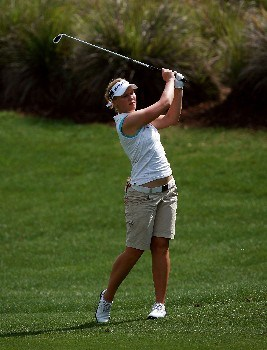 REUNION, FL - APRIL 12:  Minea Blomqvist hits a fairway shot on the 14th hole during the first round of the Ginn Open at the Ginn Reunion Resort on April 12, 2007 in Reunion, Florida.  (Photo by Doug Benc/Getty Images)