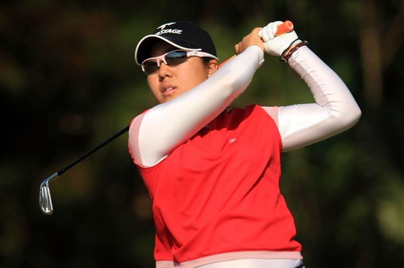 DAYTONA BEACH, FL - DECEMBER 06:  Mika Miyazato of Japan hits her tee shot on the 17th hole during the fourth round of the LPGA Qualifying School at LPGA International on December 6, 2008 in Daytona Beach, Florida.  (Photo by Scott Halleran/Getty Images)