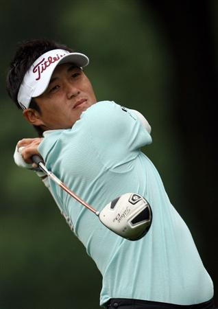 FARMINGDALE, NY - JUNE 19:  Ryuji Imada of Japan watches his tee shot on the 12th hole during the continuation of the first round of the 109th U.S. Open on the Black Course at Bethpage State Park on June 19, 2009 in Farmingdale, New York.  (Photo by Ross Kinnaird/Getty Images)